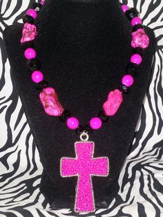 Chunky pink cross necklace by krhoades30 on Etsy, $20.00