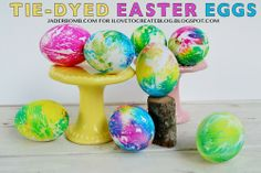 Tie-Dyed Easter Eggs from @ILoveto Create | Supplies available at Jo-Ann Fabric and Craft Stores | Great Easter #DIY | #eastereggs #easter #eggdyeing #tiedye