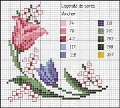 Tartaruga Voa?: Refazendo gráficos #1 - Toalha de mesa de Tulipas da Revista Rico Designer