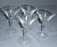 vintage crystal wine glasses | Details about ETCHED CRYSTAL GLASS STEMMED WINE GLASSES VINTAGE RETRO ...
