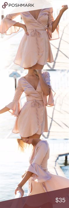 LAST ONE The Cutest Dress Order 1 size up for flows fit like the picture • polyester material • soft pink color • new, boutique item • 🎀💕🛍 sabineforever.com for style, beauty and lifestyle inspo Dresses Mini