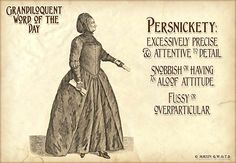 Persnickety (pur•SNIK•it•ee) Adjective: -Overparticular or fussy. -Snobbish or having the aloof attitude of a snob. -Requiring painstaking care. -Placing too much emphasis on trivial or minor details.