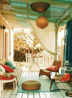 veranda. Love coral and turquoise