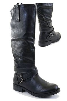 Knee-High Riding Boots with Lug Sole