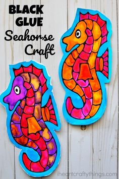 This seahorse black glue craft is a great ocean art project for kids, fun seahorse craft for kids, ocean kids craft and fun summer art project. This seahorse black glue craft is a great ocean art Ocean Kids Crafts, Sand Crafts, Fish Crafts, Crafts For Kids To Make, Craft Activities For Kids, Crafts For Teens, Ocean Activities, Children Crafts, Paper Crafts