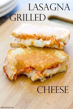 Lasagna Grilled Cheese: Bread, Butter, Pasta Sauce, Ricotta, Tomato, Meatballs Sliced, Mozzarella, Parmesan