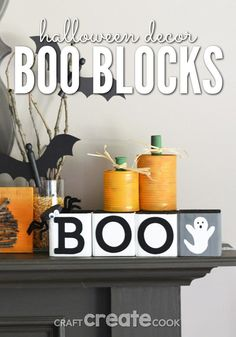 Halloween Decorations - BOO Blocks are the perfect wooden block Halloween decoration! Add this Halloween sign to your mantle or table for a cute addition to your Halloween decor! #Halloween #Upcycle #HomeDecor #Decorations Cute Halloween Decorations, Halloween Mantel, Halloween Signs, Holidays Halloween, Vintage Halloween, Halloween Crafts, Halloween Ideas, Halloween Stuff, Holiday Decorations