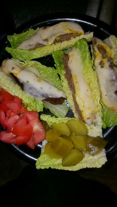 Hamburger Lettuce wraps use sirloin meat and cheese add pickle and tomatoes very low carbs Meat And Cheese, Lettuce Wraps, I Foods, Pickles, Tomatoes, Hamburger, Sandwiches, Low Carb, Low Carb Recipes