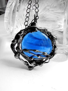 Blue sea glass pendant tiffany stained glass by GepArtJewellery, $36.00