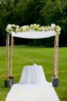 Birch, White Fabric and Green/White Hydrangea Chuppa