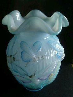 Hand Painted Fenton Glass Vase | FENTON ART GLASS ~ hand painted butterfly vase.