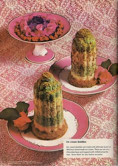 Least Appealing Ice Cream Ever, Ice Cream Bombes. Besides looking like cactus sprinkled with sand, they have a fairly phallic appearance, and not in a good way. Retro Recipes, Old Recipes, Vintage Recipes, Gross Food, Weird Food, Scary Food, Retro Ads, Vintage Ads, Vintage Food