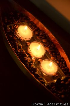 if you burn tea candles in coffe beans it smells like freshly roasted coffe
