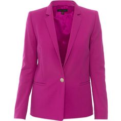 Escada Baurento Fuchsia Stretch Cotton Blazer ($1,250) ❤ liked on Polyvore featuring outerwear, jackets, blazers, fuchsia, slim blazer, escada blazer, three button blazer, blazer jacket and purple jacket