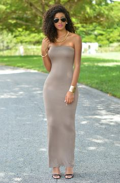 Chic Couture Online - Mandi Taupe Strapless Maxi Dress, (http://www.chiccoutureonline.com/mandi-taupe-strapless-maxi-dress/)