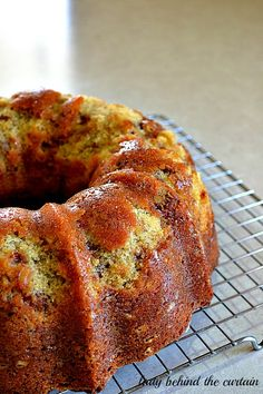 Brown Sugar Pound Cake from Lady Behind the Curtaib. Recipe for bundt cake with link to caramel drizzle.