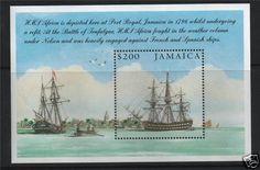 Stamp: HMS Africa at Port Royal (Jamaica) (Bicentenary of the Battle of Trafalgar issue)) Mi:JM Ship Paintings, Port Royal, Postage Stamps, Jamaica, Islands, Sailing, Battle, Flag, Ships