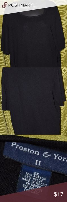 Preston & York Plus Size Knit Top 2X Black Preston & York  Plus Size Knit Top 2X  Black Short Sleeved Very Nice, No signs of wear. Preston & York Tops