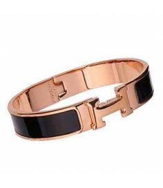 Hot Sale Hermes Black Enamel Clic H Narrow Bangle Bracelet Gold aa75b093956