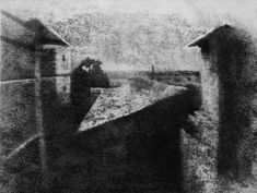 This is the first photograph ever taken (or oldest surviving photograph). It was taken in France by Joseph Nicéphore Niépce in 1826 or It took 8 hours of exposure to make using a technique called heliography. First Photograph Ever Taken, First Color Photograph, Louis Daguerre, Gordon Parks, Alfred Stieglitz, Robert Mapplethorpe, History Of Photography, Color Photography, Famous Photography