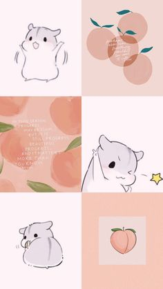 Hamster and peach Collage, Peach, Snoopy, Fictional Characters, Art, Art Background, Collages, Kunst, Collage Art