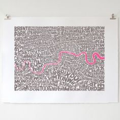 Typographic map of London - Fluorescent Pink and Grey by Ursula Hitz London Christmas, A Christmas Story, Central London Map, Personal Project Ideas, Framed Prints, Art Prints, Affordable Art, City Art, Ursula
