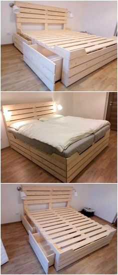 Pallet Wood Ideas to Craft with Old Sipping Pallets - diypalletideas wood pallet bed ideas Pallet Furniture Designs, Pallet Designs, Furniture Projects, Furniture Decor, Bedroom Furniture, Pallet Furniture Bed, Pallette Furniture, Recycled Pallet Furniture, Wooden Furniture