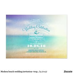 Modern beach wedding invitation- tropical blue sea