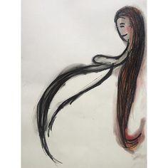 #young #woman #houtskool #oil #pastels #drawing