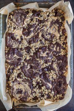 sweetoothgirl:Oatmeal Chocolate Chunk Cookie Peanut Butter Swirled Brownies