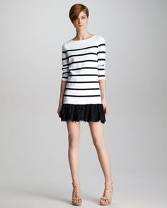 Red Valentino Lace Hem Striped Knit Dress in White Fashion Sewing, Knit Fashion, Striped Knit, Striped Dress, Preppy Trends, Red Valentino Dress, Casual Dresses, Short Dresses, Contemporary Dresses