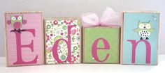 Baby name block - photo prop - Personalized blocks with any name or theme - Eden - owls on Etsy, $7.00