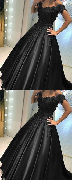 Black Lace Flower Off The Shoulder Satin Prom Dresses Ball Gowns Wedding Dress For Bridal Party P1868