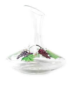 Exquisitely hand painted grapes and leaves adorn this carafe. Wine glasses are also available, with each glass in this collection displays a different type of wine grape, while the carafe brings all the different wines together.