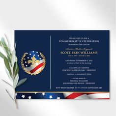 A beautiful celebration of life invitation featuring the American flag with gold accents, celebrating the life of your loved one with elegance and style. Receive your digital print-ready file in 24 hours.