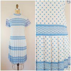 Vintage 1960s Dress / Drop Waist / Pleated Skirt Dress / Large