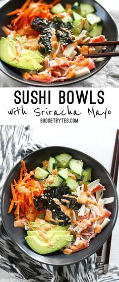 Sushi Bowls are a fast, easy, and inexpensive alternative to your favorite sushi bar. @budgetbytes
