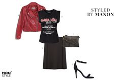 Styled by Manon #25: rock and roll, jacket by Mango, Sally & Circle shirt, Zara skirt, Jack Wills bag, Nly shoes heels
