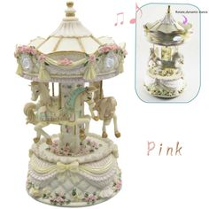 Carousel Horses Rotating Music Musical Box caixa de musica Castle in the Sky Home Decoration Holiday Birthday christmas Gifts
