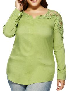$17.36 Oversized Fashion Pure Color Lace Hollow Out Blouse