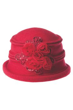 $ 30 ROSETTE BUNCHED CLOCHE HAT