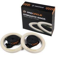 PROCIRCLE Wooden Gymnastic Rings Olympic Gym Rings W/ Adjustable Straps Crossfit…