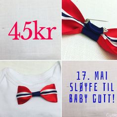 Norwegian Independence day is right around the corner! This little bowtie is for small gentlemen whom wants to celebrate in style  Free shipping until June 1st