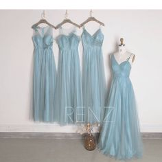 2017 Dusty Blue Tulle Mix Match Bridesmaid Dress, Ruched Bodice Wedding Dress, A Line Prom Dress, Formal Dress Full(HS455/HS452/HS451/HS453)