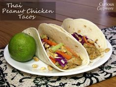 Do you have some leftover chicken? You can make these delicious and easy Thai Peanut Chicken Tacos #weekdaysupper