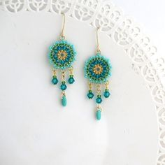 Turquoise earring Gift for women Turquoise gold by LioraBJewelry