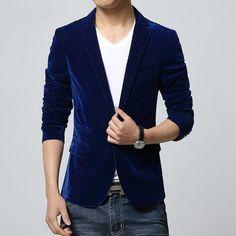 Mens slim fit blazer velvet male suit jacket 2016 spring and autumn red black blue notch lapel casual coat Blaser drop shipping