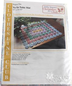 Yo-Yo Table Mat Kit - Clothesline Club Project 10 from Missouri Star Quilt Co