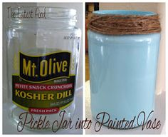Pickle jar up cycle>>I would use sea glass paint or a crackling white instead but otherwise it looks so cute!