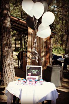 Rustic wedding popcorn bar. Wedding food
